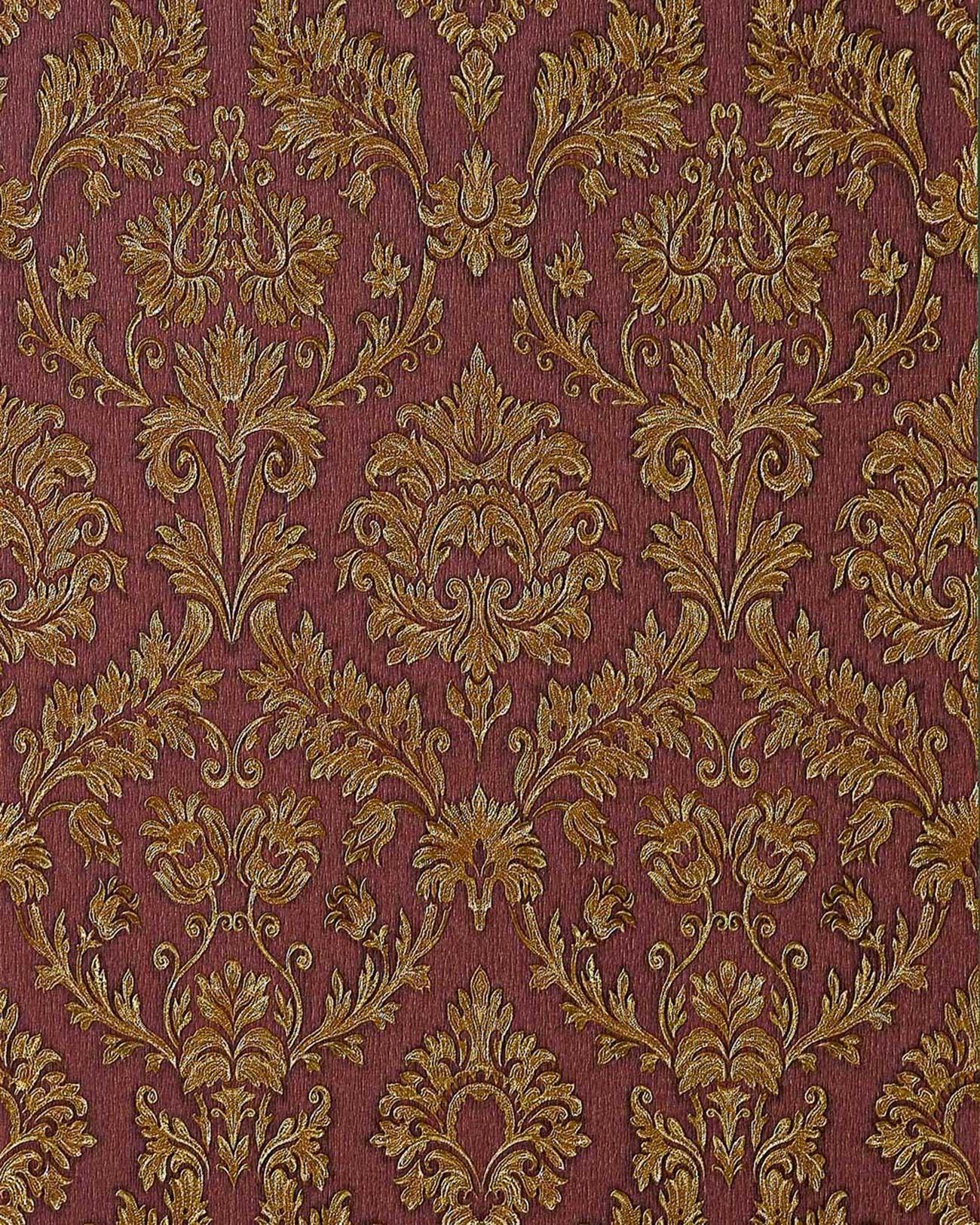 Edem 708 36 Papier Peint Style Baroque Beige Rouge Ombrage