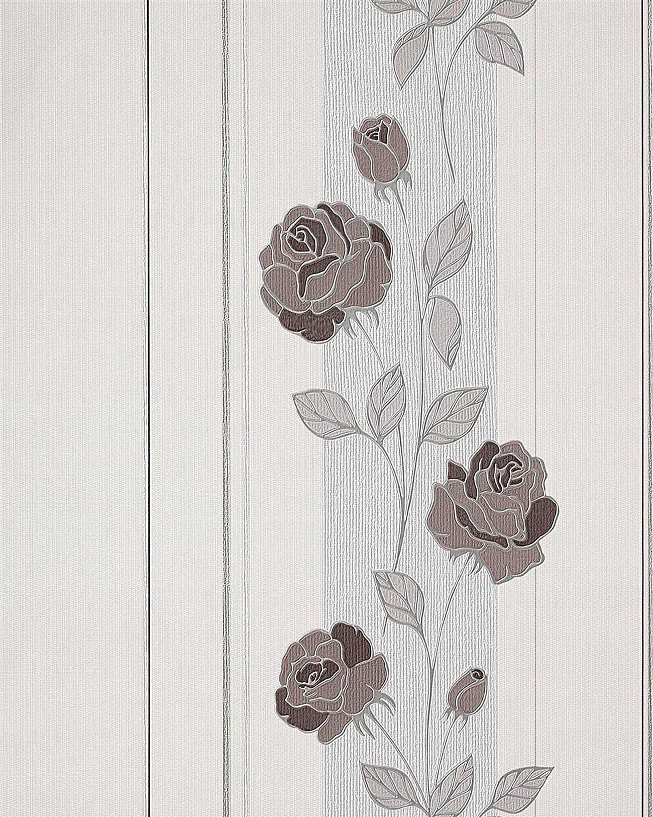 Edem 766 30 deluxe blumen streifen tapete rosen creme for Tapete blumen