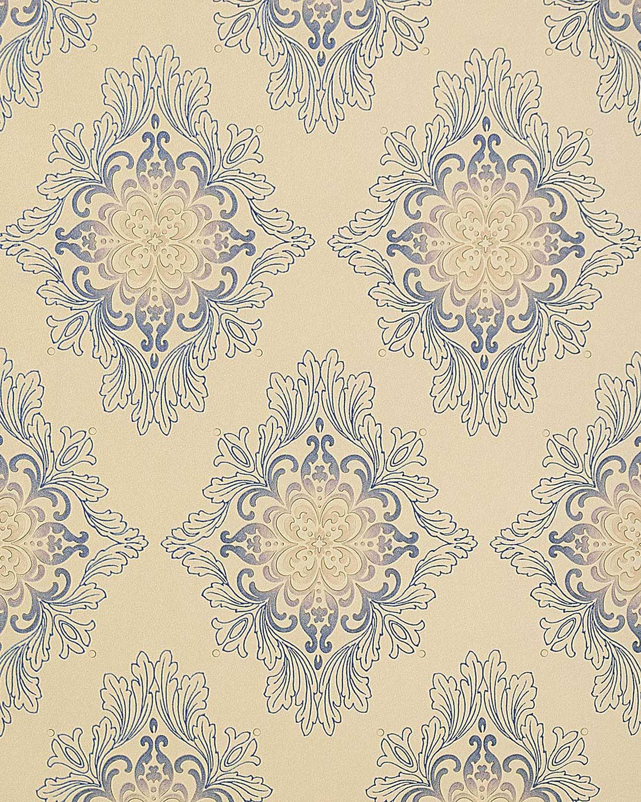 Edem 826 23 pr ge tapete barock opulent ornament beige for Tapete lila silber