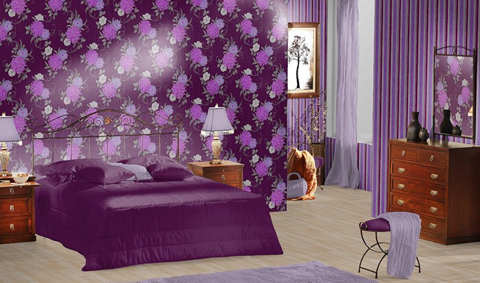 edem 824 29 gepr gte blumen tapete violett flieder hell lila grau wei 70 cm original edem. Black Bedroom Furniture Sets. Home Design Ideas