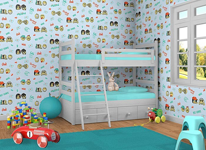 edem 037 22 fun manga anime smileys kinder jugend zimmer tapete blau gelb gr n kaufen bei. Black Bedroom Furniture Sets. Home Design Ideas