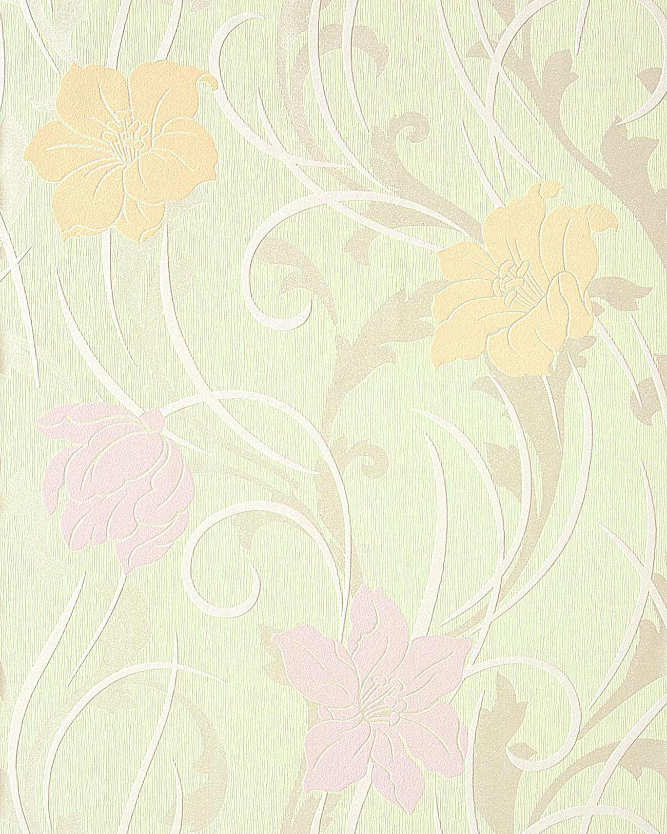 tapete wohnzimmer hell: 35 Stilvolle Blumen Floral Tapete hell-grün safran-gelb hell-violett