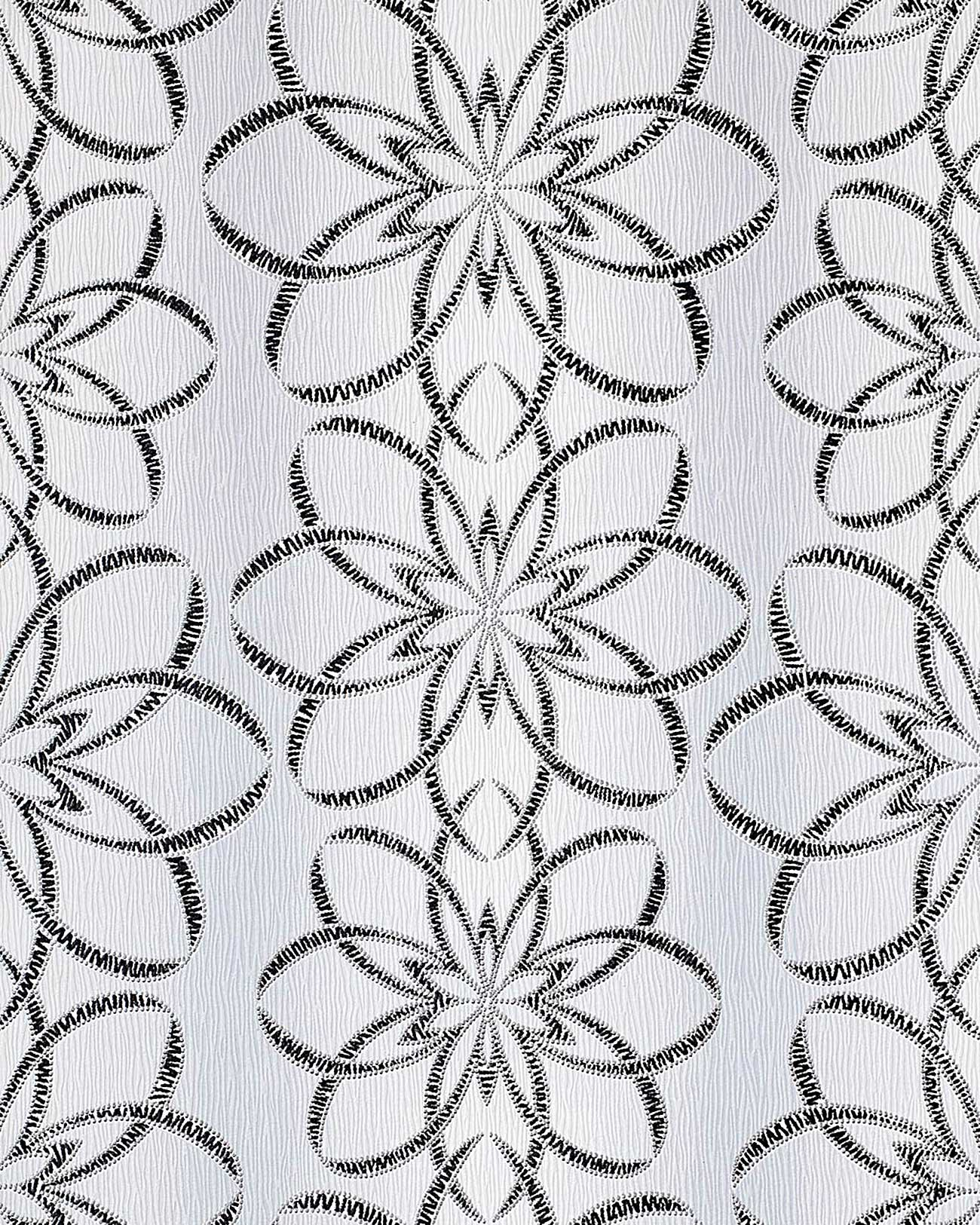 Tapeten Design Schwarz Wei? : Ornaments Silver Floral Wallpaper