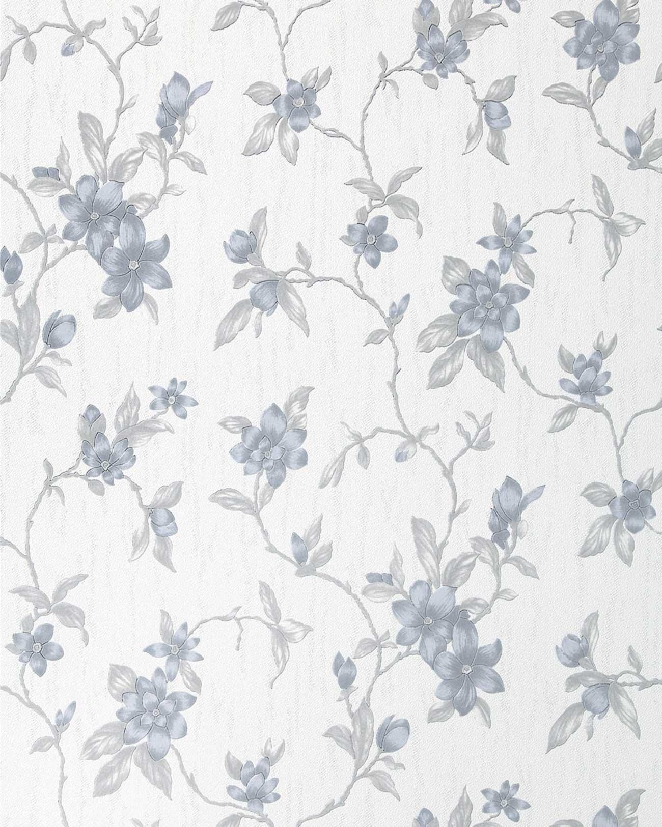 Edem 032 20 tapete floral design blumen natur wei petrol for Tapete petrol grau