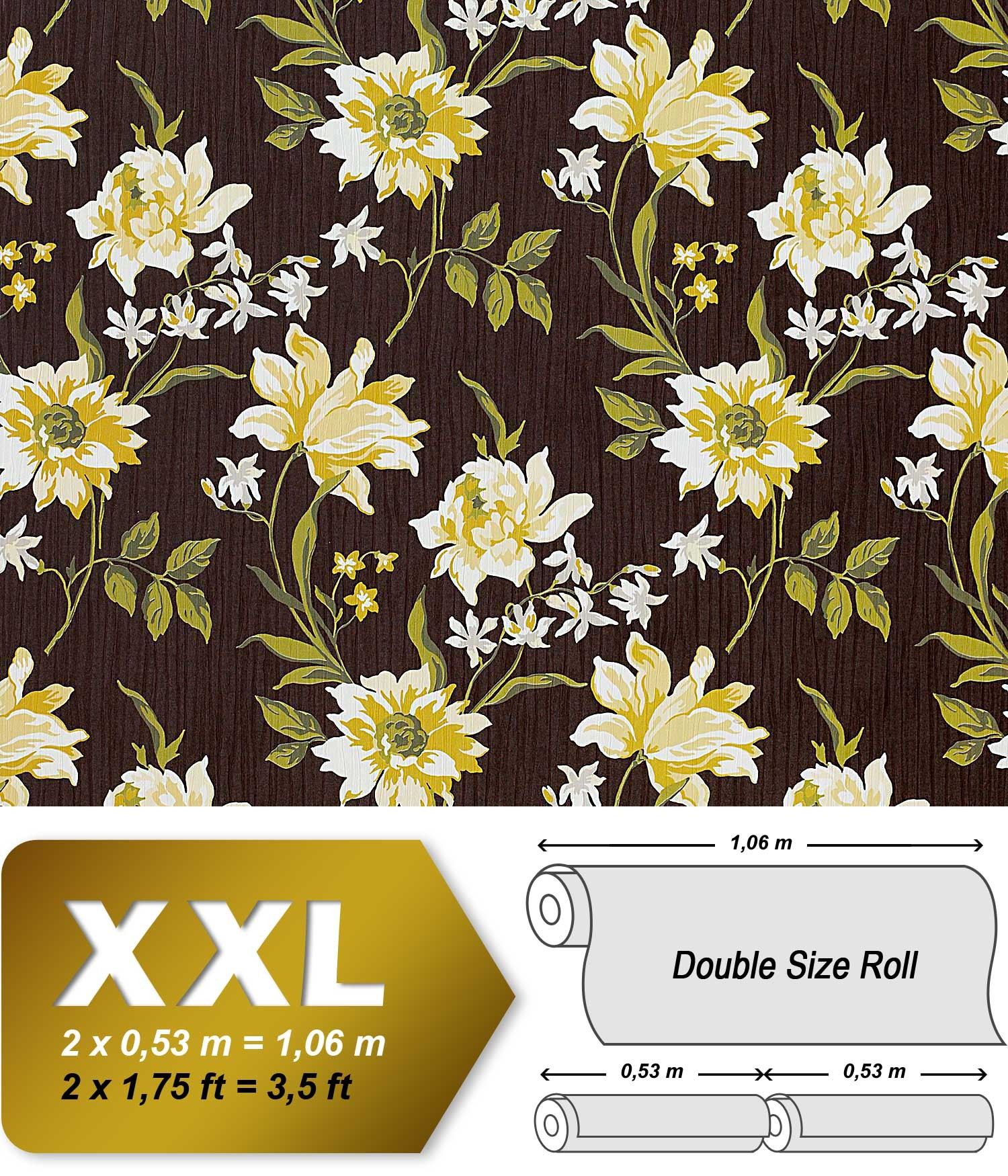 Dettagli su EDEM 900-16 Carta da parati a fiori in non tessuto marrone ...
