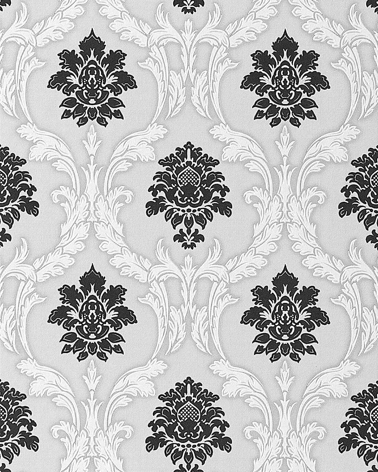 edem 052 20 tapete barock damask relief ornamente flockoptik schwarz wei grau ebay. Black Bedroom Furniture Sets. Home Design Ideas