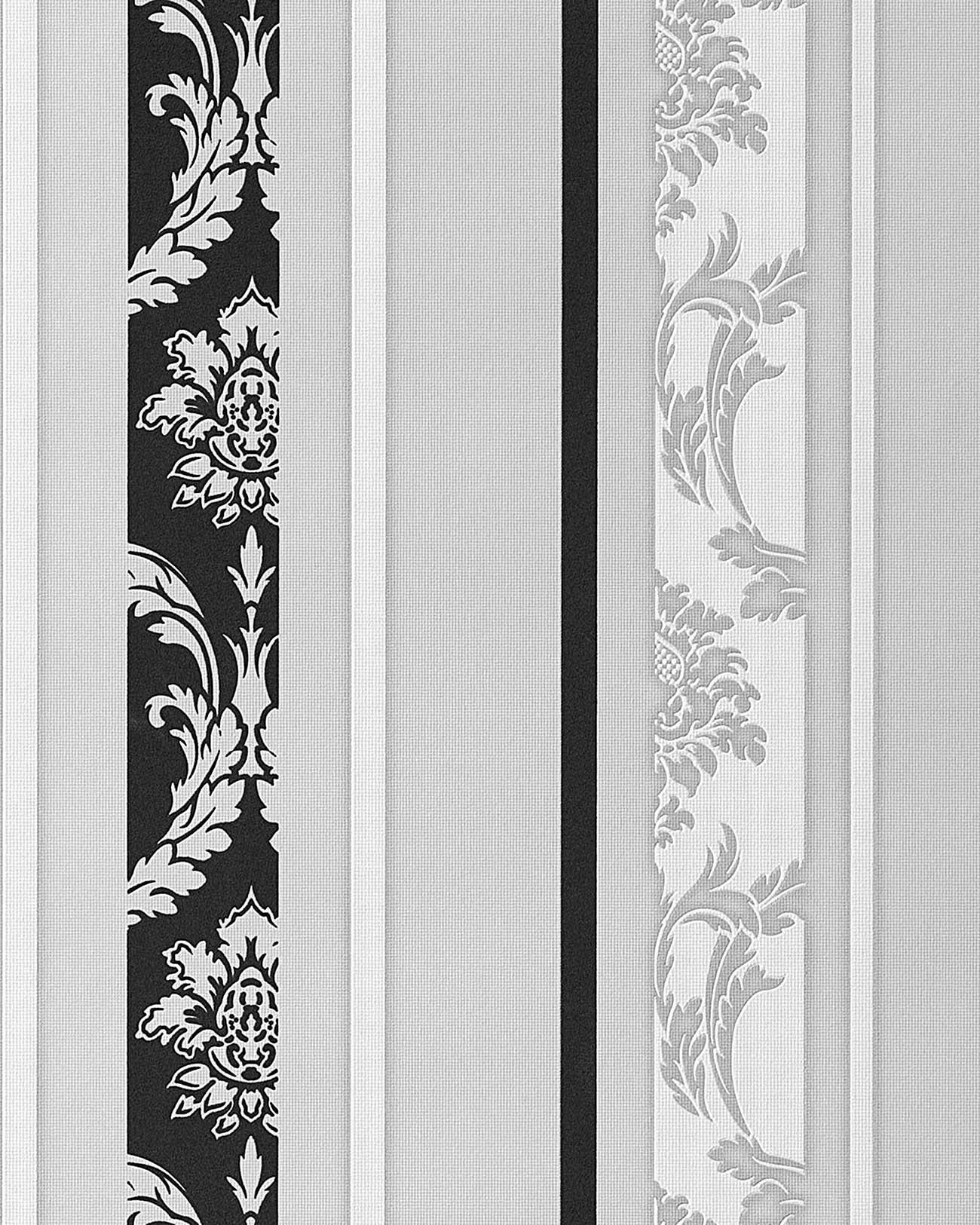 edem 053 20 streifen tapete barock damask ornamente flockoptik schwarz wei grau ebay. Black Bedroom Furniture Sets. Home Design Ideas