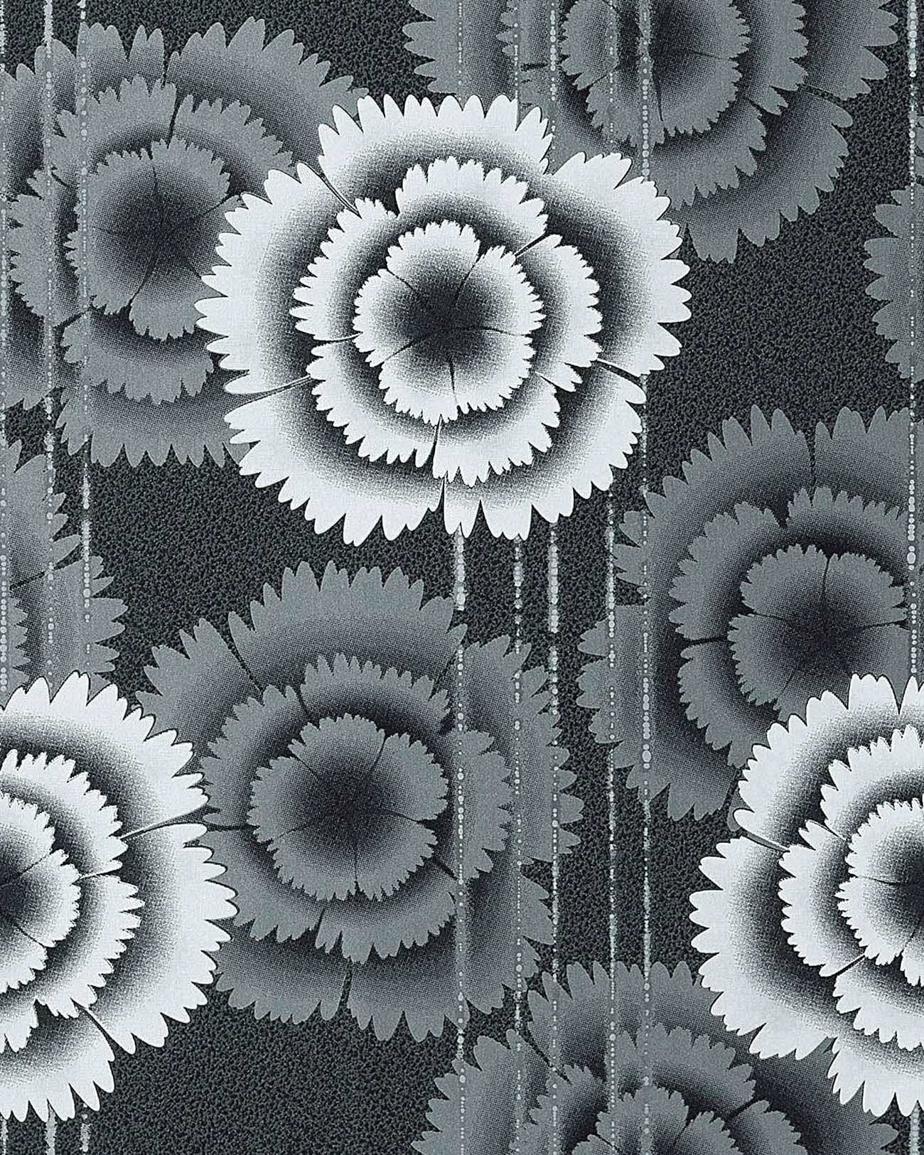 Edem 056 20 papier peint design fleurs ann es 70 noir blanc gris argent ebay - Papier peint noir et argent ...