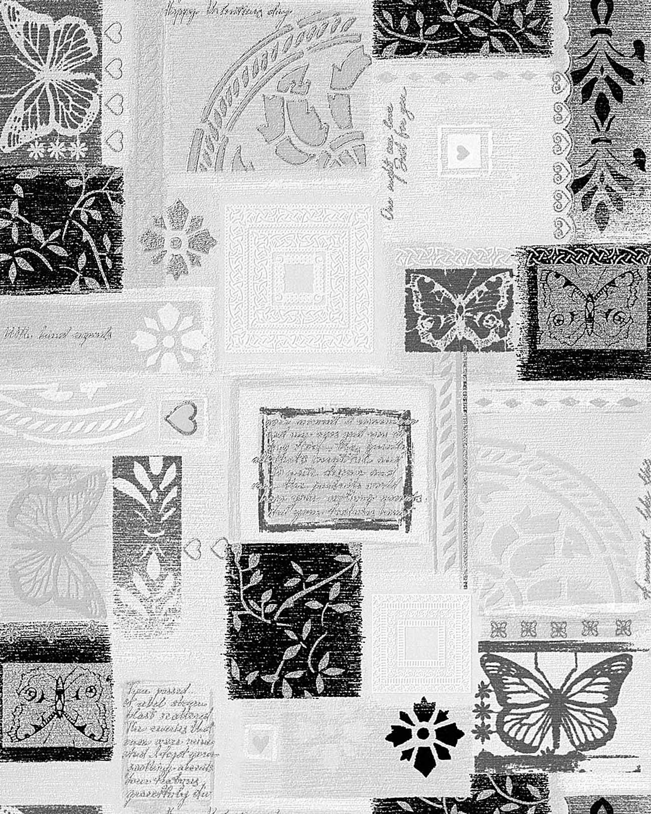 Edem 071 20 papel pintado estilo scrapbooking relieve for Papel pintado en blanco y plata