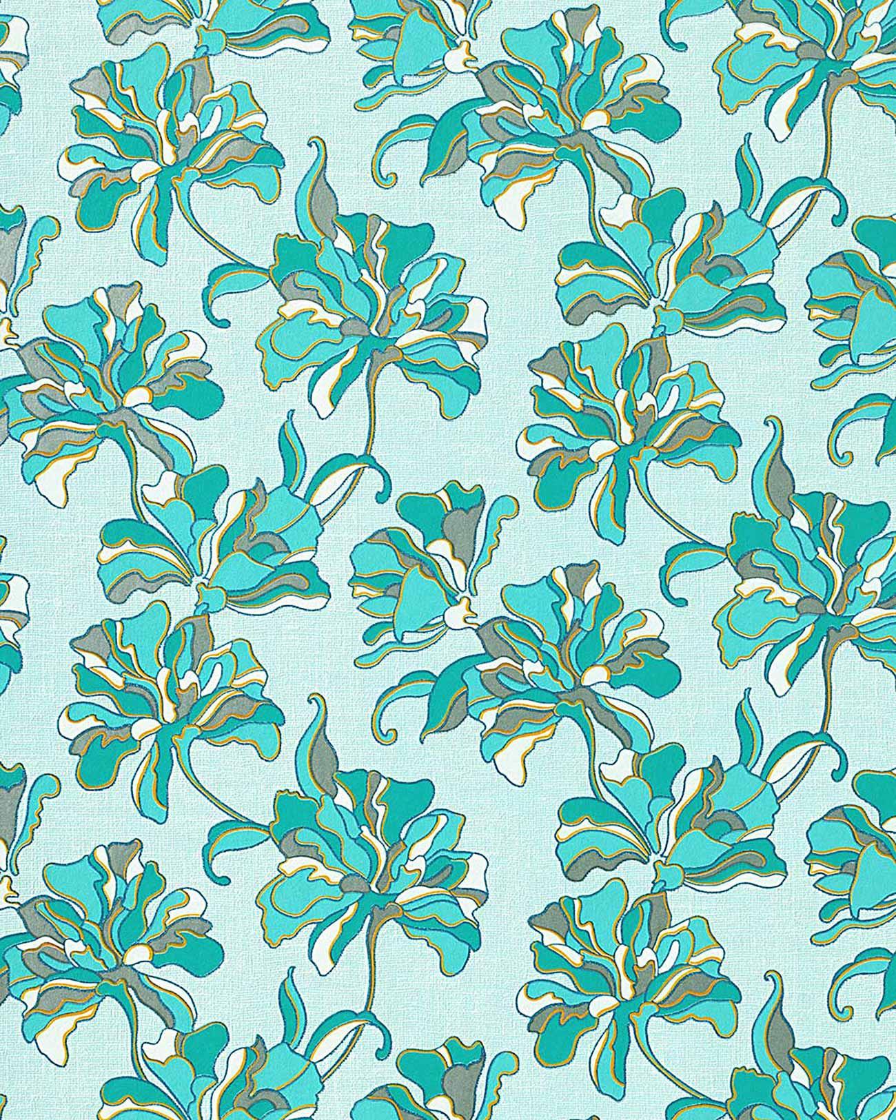 Edem 072 22 wallpaper floral design flowers turquoise blue sqm ebay - Turquoise wallpaper for walls ...