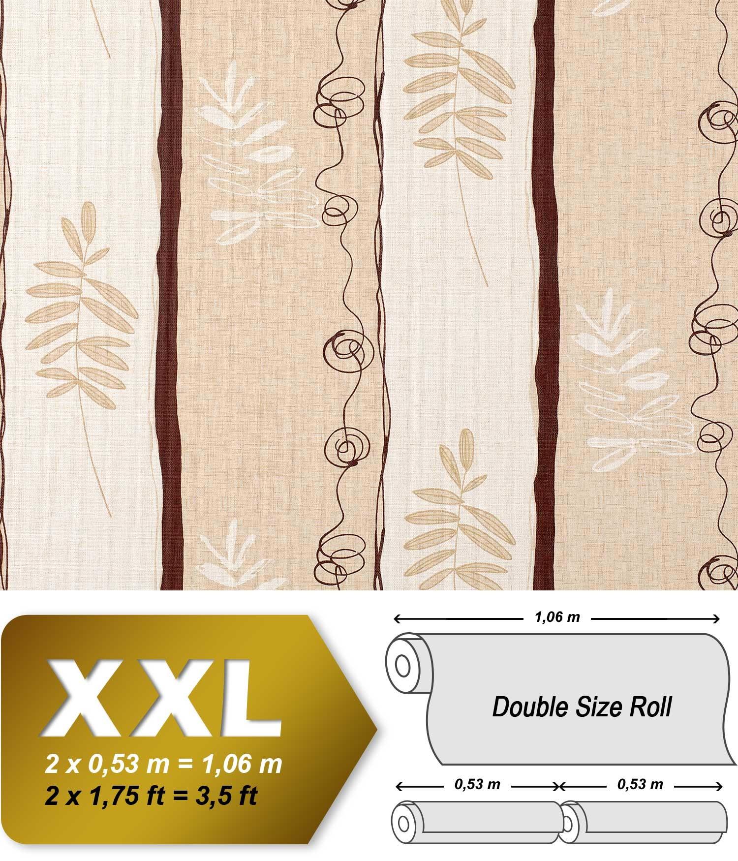EDEM 685 91 XXL Papier peint intissé motif floral rayé crème beige
