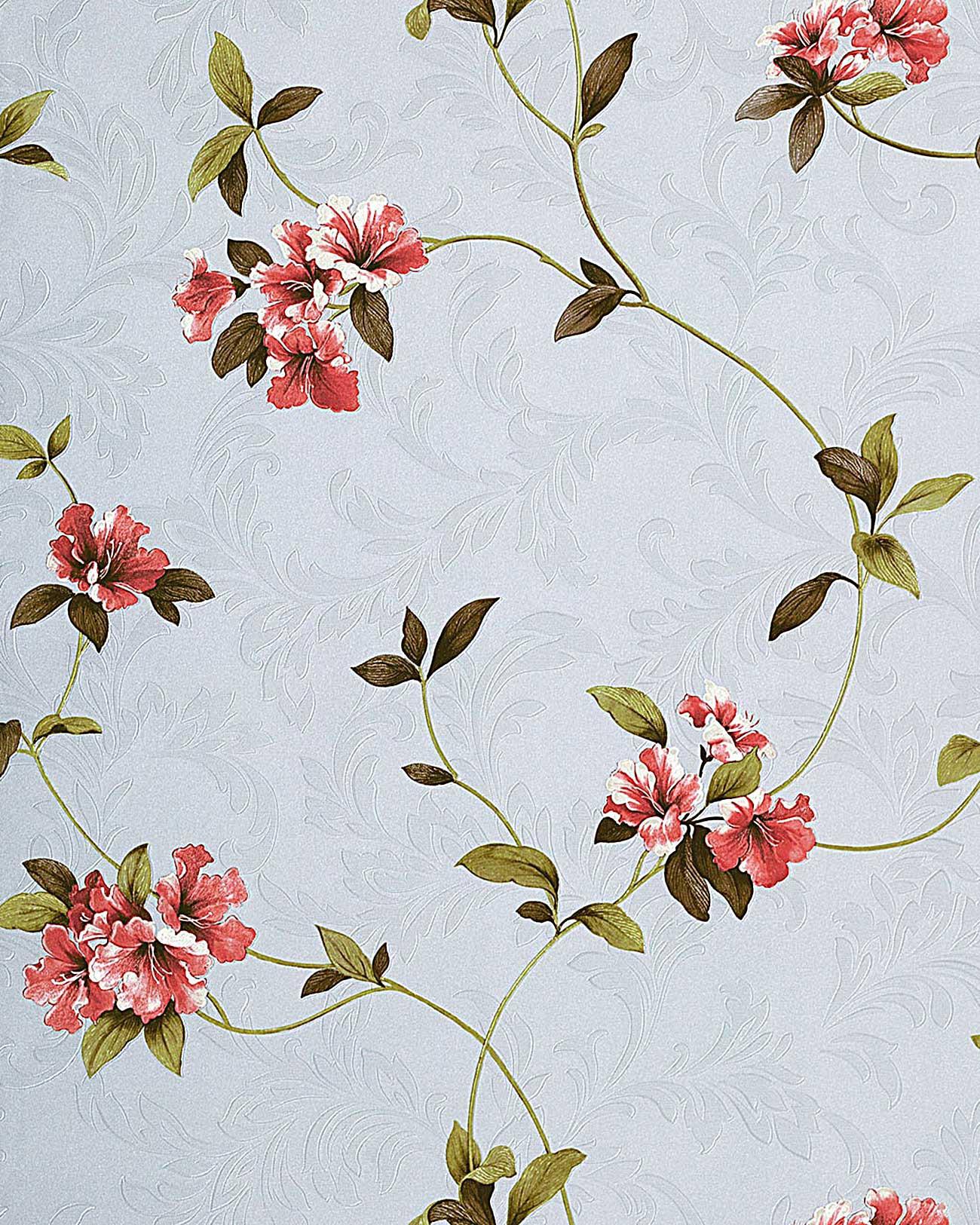 wohnzimmer hell lila: Blumen Tapete Floral hochwertige Prägequalität hell-lila rot grün