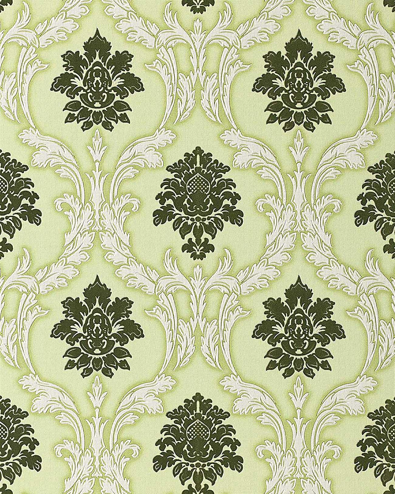 Edem 052 25 carta da parati stile barocco damasco in verde for Carta parati verde
