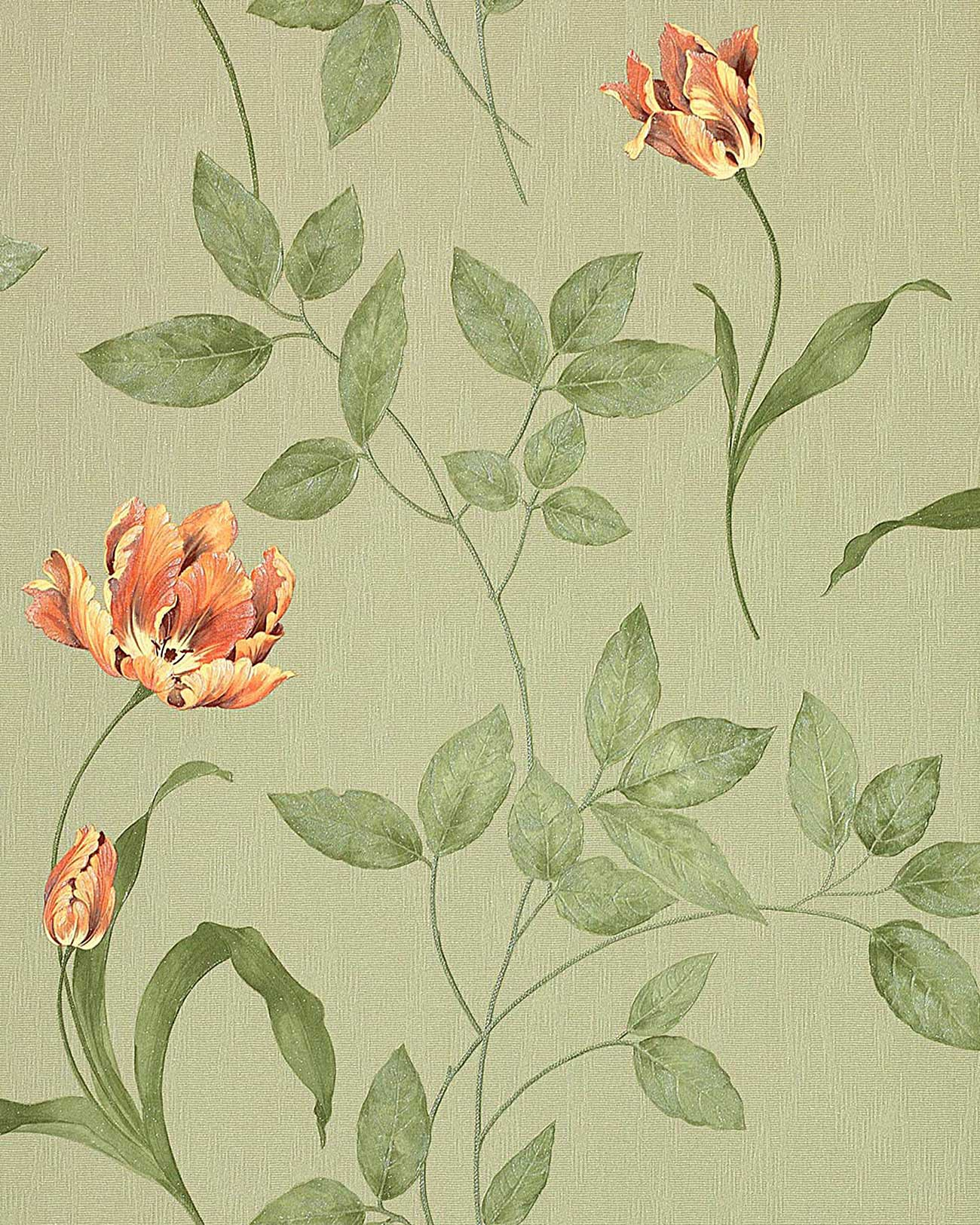 Edem 769 38 papier peint motif floral aspect textile vert for Papier peint vert olive