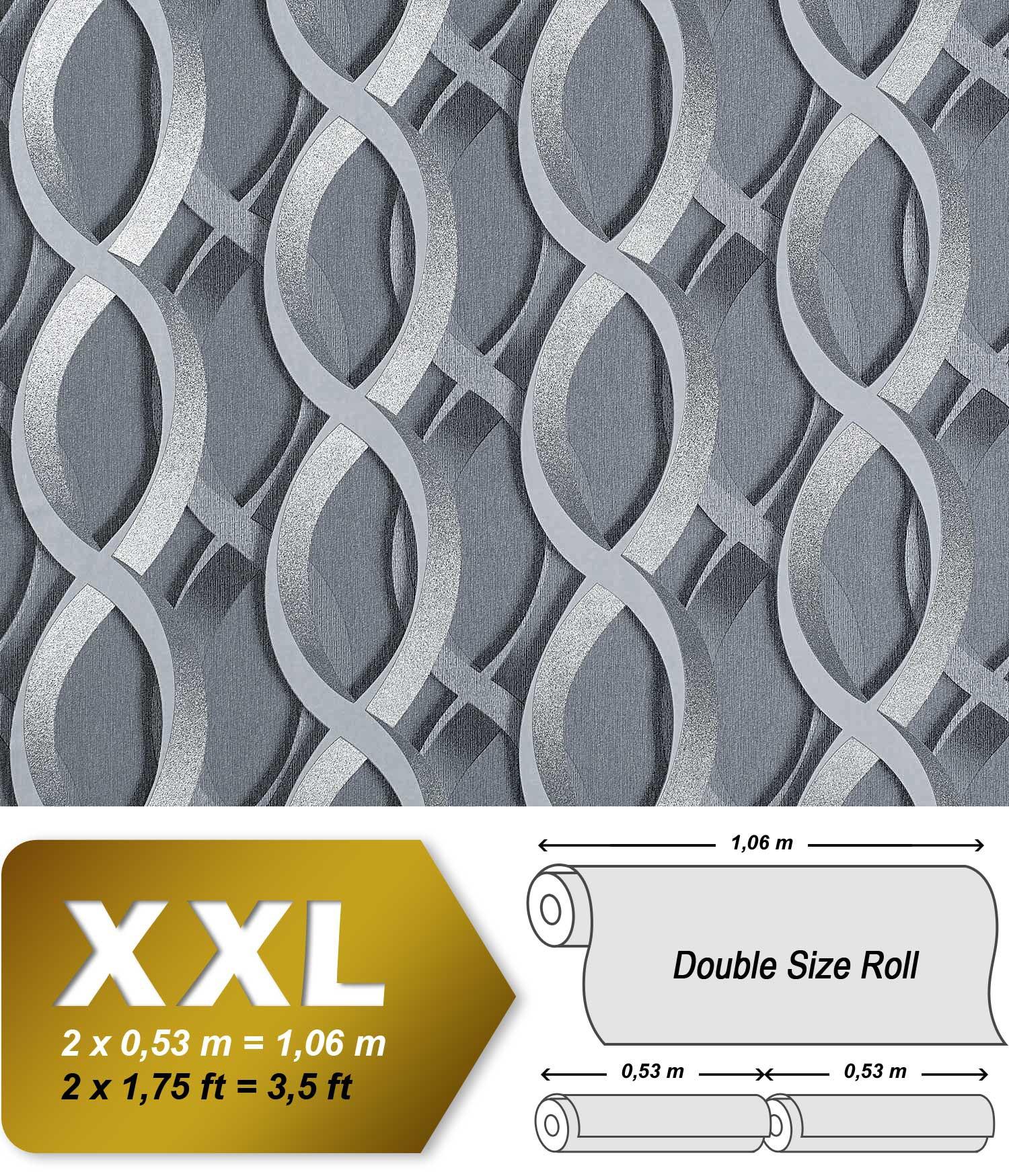 Edem 601 96 designer vliestapete 3d ketten muster retro - Vliestapete grau ...