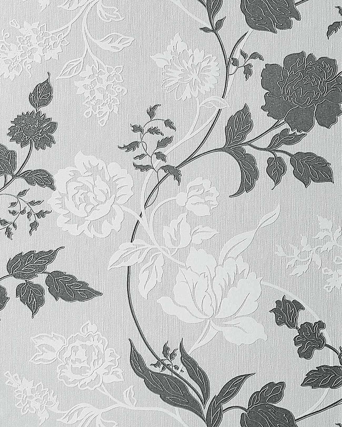 Design floral blumen tapete hell grau wei 116 26 edem ebay for Design tapeten shop