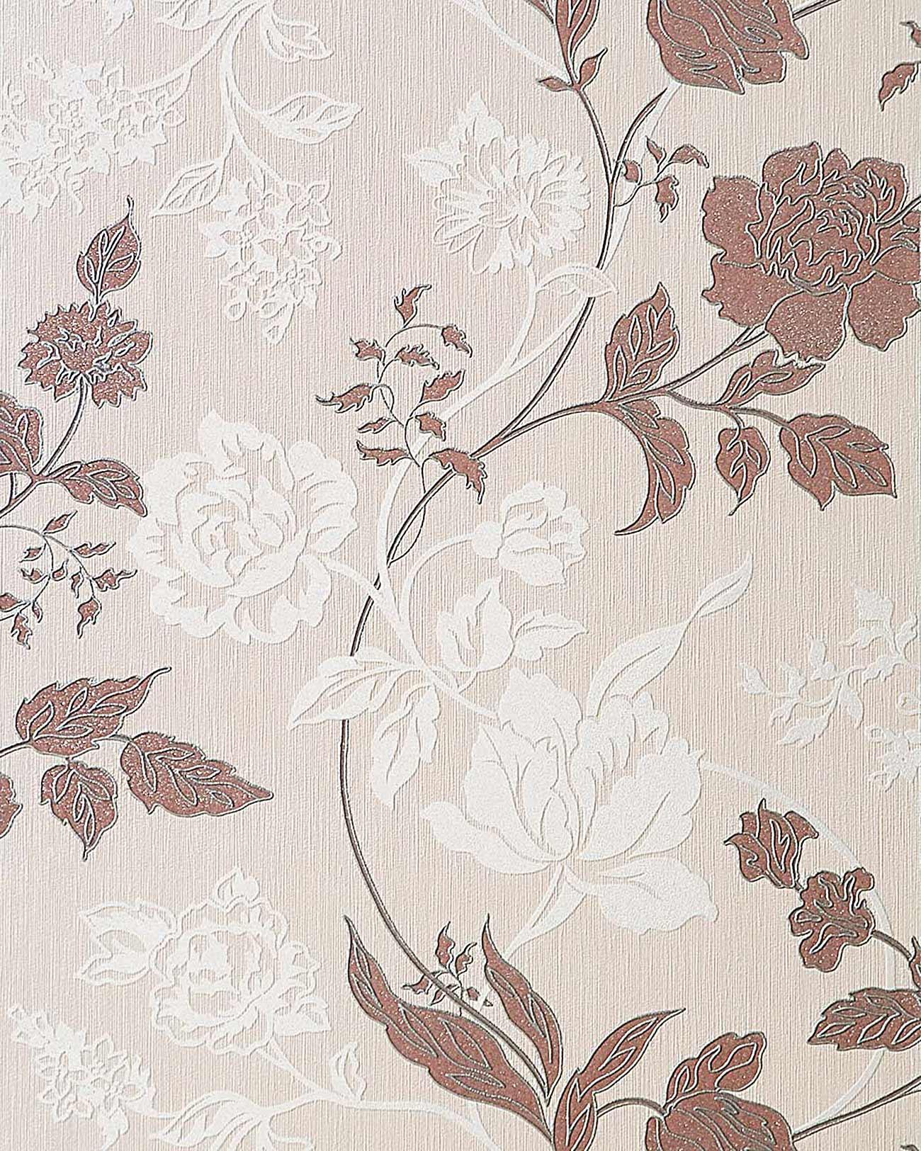 Edem 116 23 carta da parati a fiori floreale in crema for Carta da parati contemporanea
