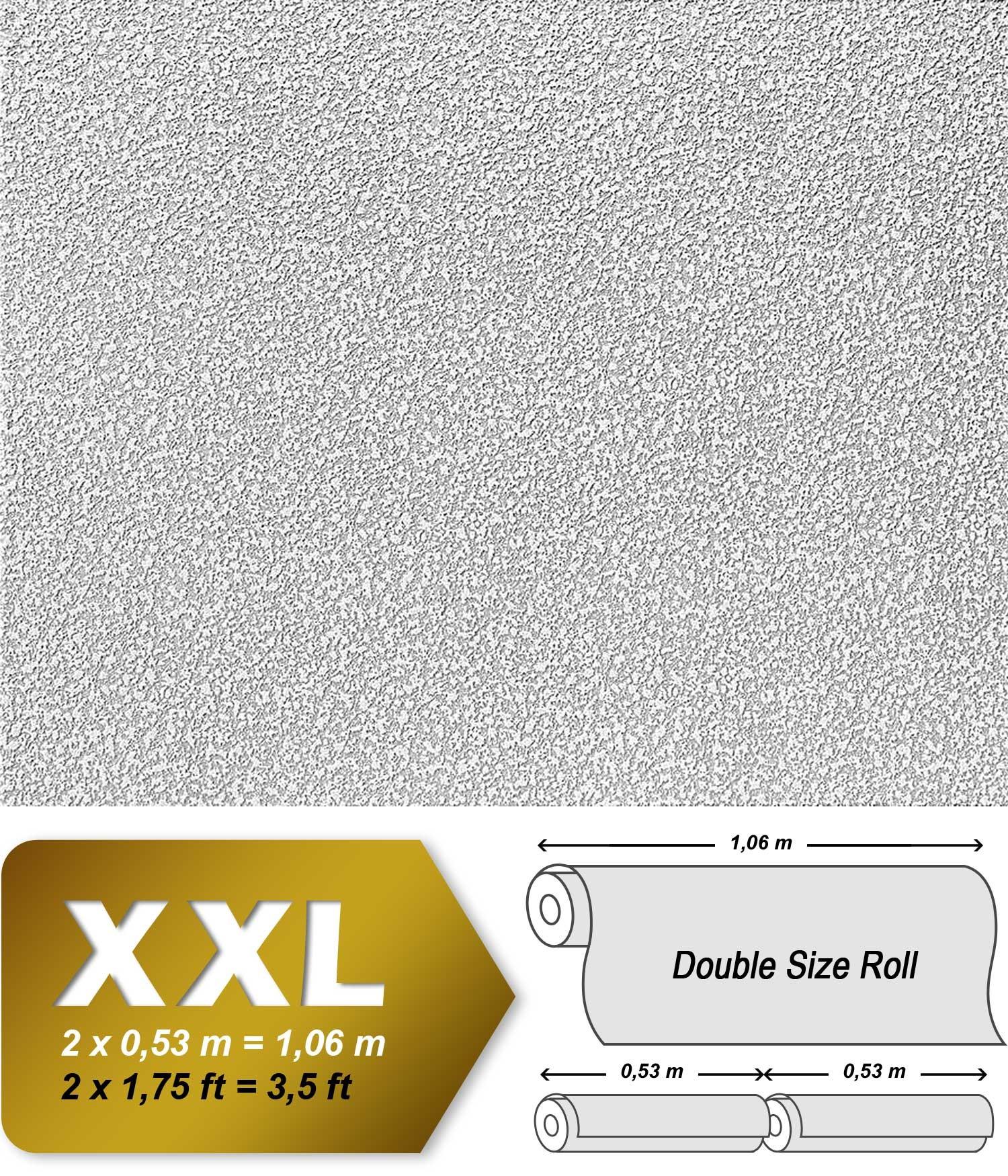 EDEM 304-60 XXL Vliestapete zum Überstreichen rauhfaser putz-optik weiß 26,50 qm