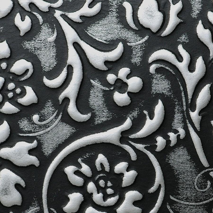 Selbstklebende Tapeten Barock : Barock Blumen selbstklebende Tapete Belag schwarz silber matt 2,60