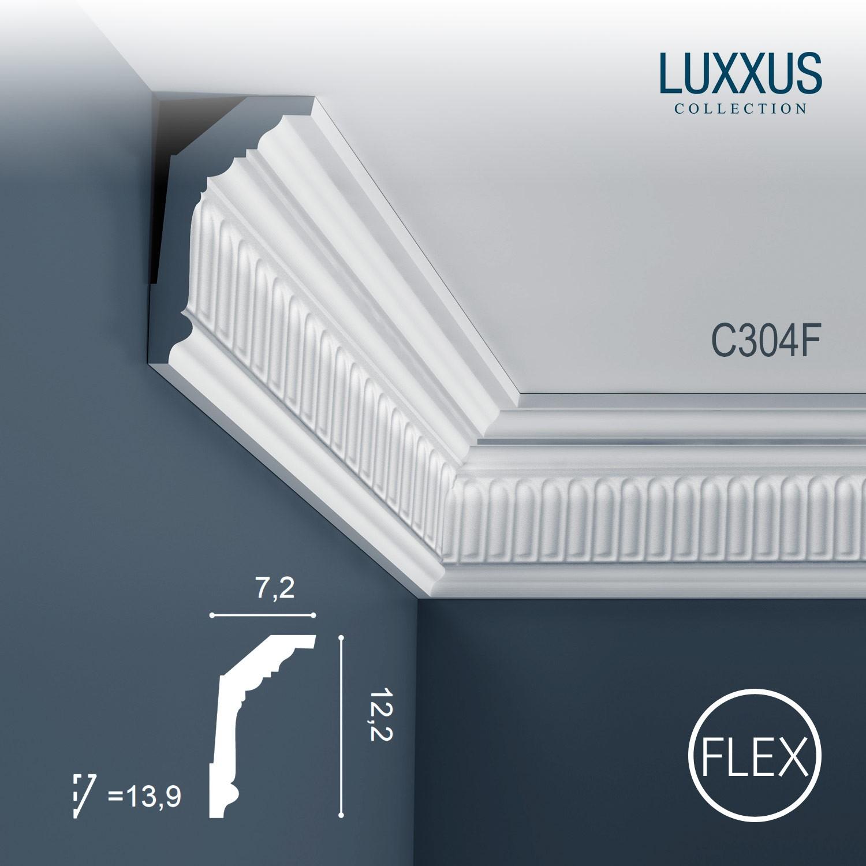 flexible eckleiste orac decor luxxus c304f deckelleiste zierleiste 2 m original orac decor wei. Black Bedroom Furniture Sets. Home Design Ideas