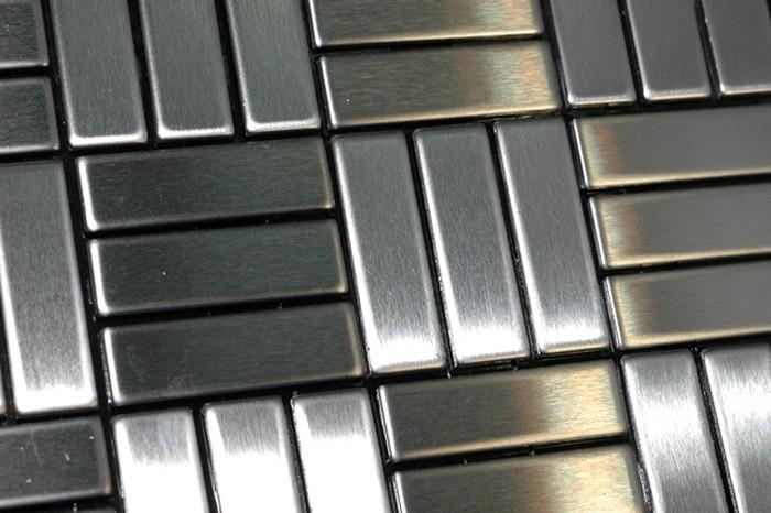 metallmosaik fliesen aus massivem edelstahl geb rstet in grau 1 6mm stark artikel basketweave s. Black Bedroom Furniture Sets. Home Design Ideas