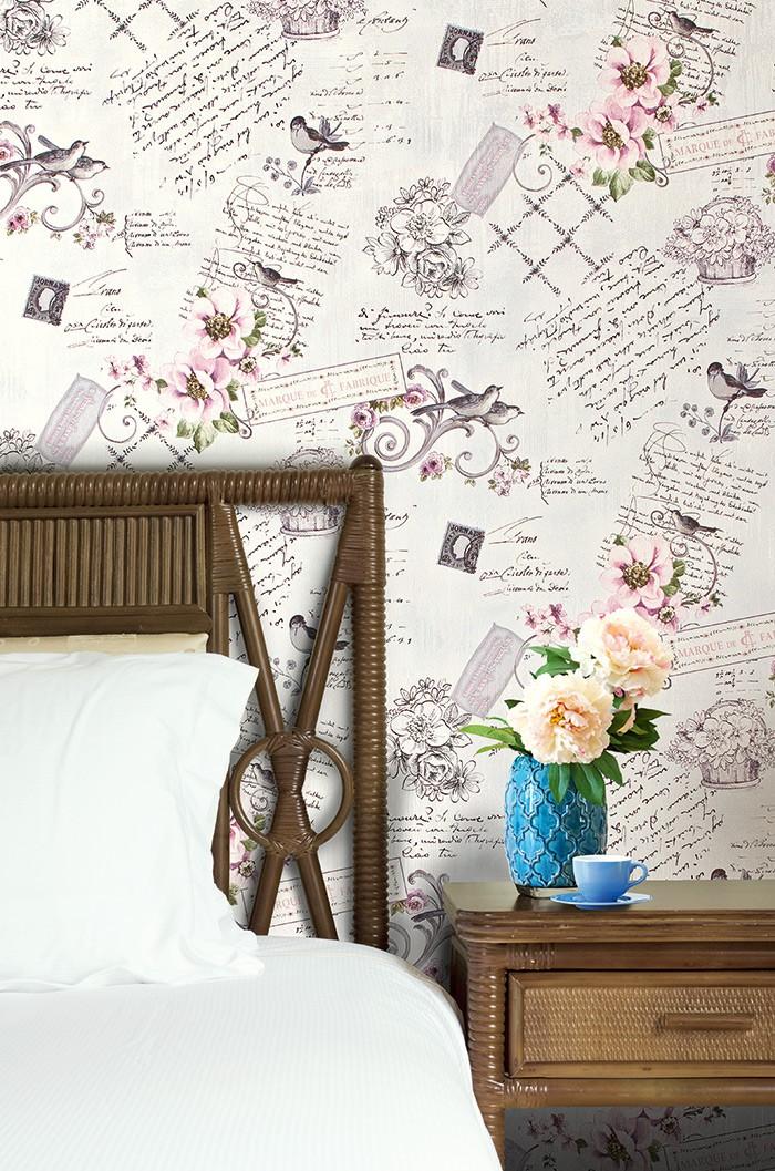 Romantische Blumentapete : EDEM 904-17 XXL Vlies Tapete Landhaus Blumen V?gel 10,65 m2 ? Bild