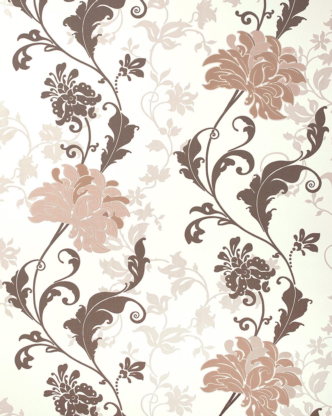 edem 833 23 edles florales muster blumen tapete braun beige hellbraun 70 cm original edem braun. Black Bedroom Furniture Sets. Home Design Ideas