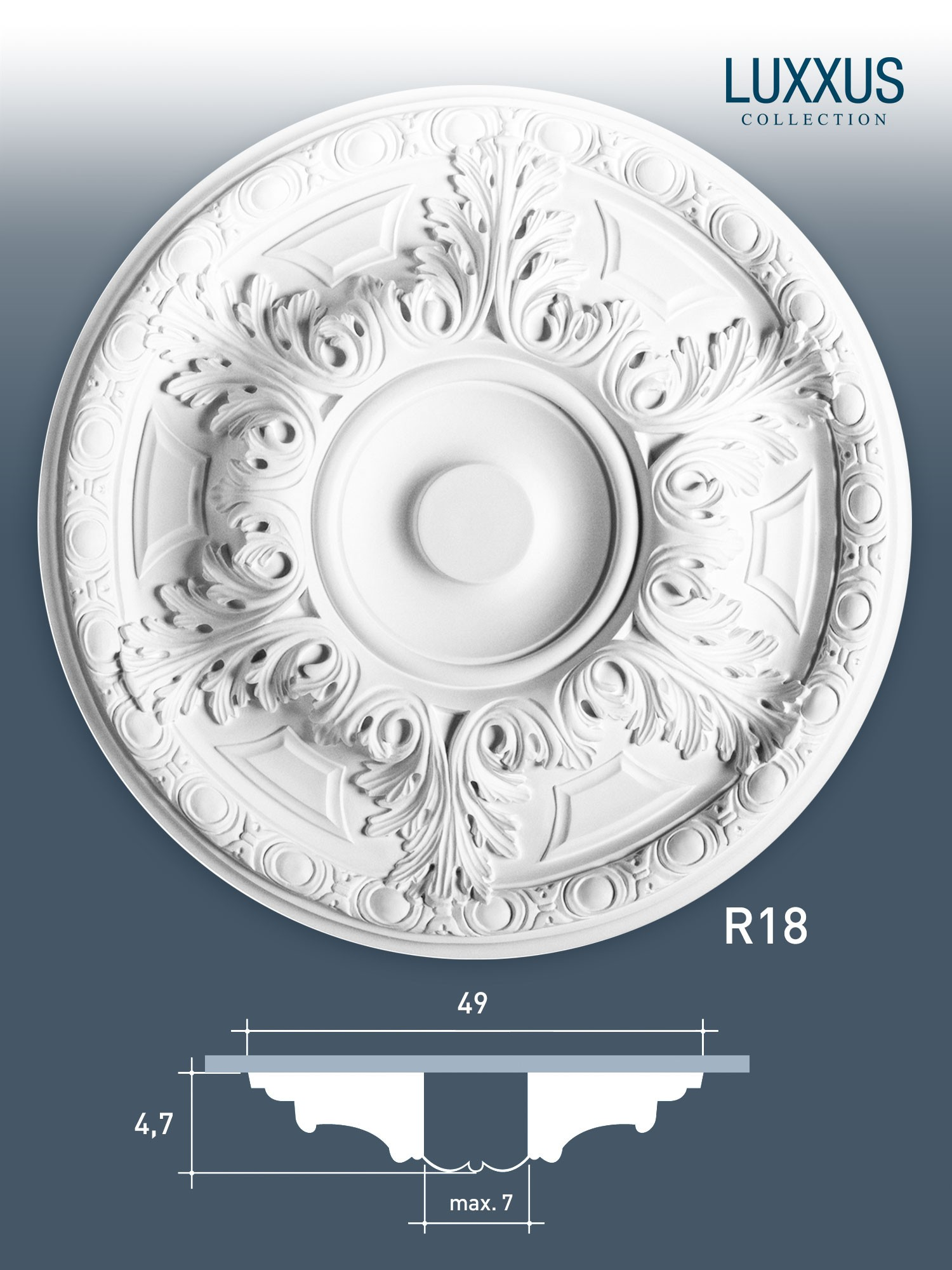 deckenrosette medallion orac decor r18 luxxus lampen rosette stuckrosette 49 cm original orac. Black Bedroom Furniture Sets. Home Design Ideas