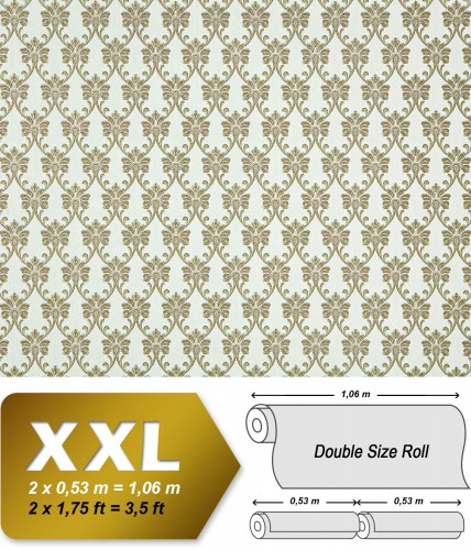 Edem 656 95 vlies tapete xxl barock muster textil optik 10 for Tapeten in gold optik