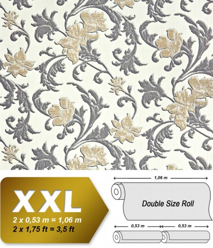 edem 992 31 vlies tapete blumen xxl floral struktur 10 65 m2 original edem creme gold grau. Black Bedroom Furniture Sets. Home Design Ideas
