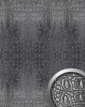 wandpaneel leder optik wallface 13521 croco schwarz original wallface silber metallic matt. Black Bedroom Furniture Sets. Home Design Ideas
