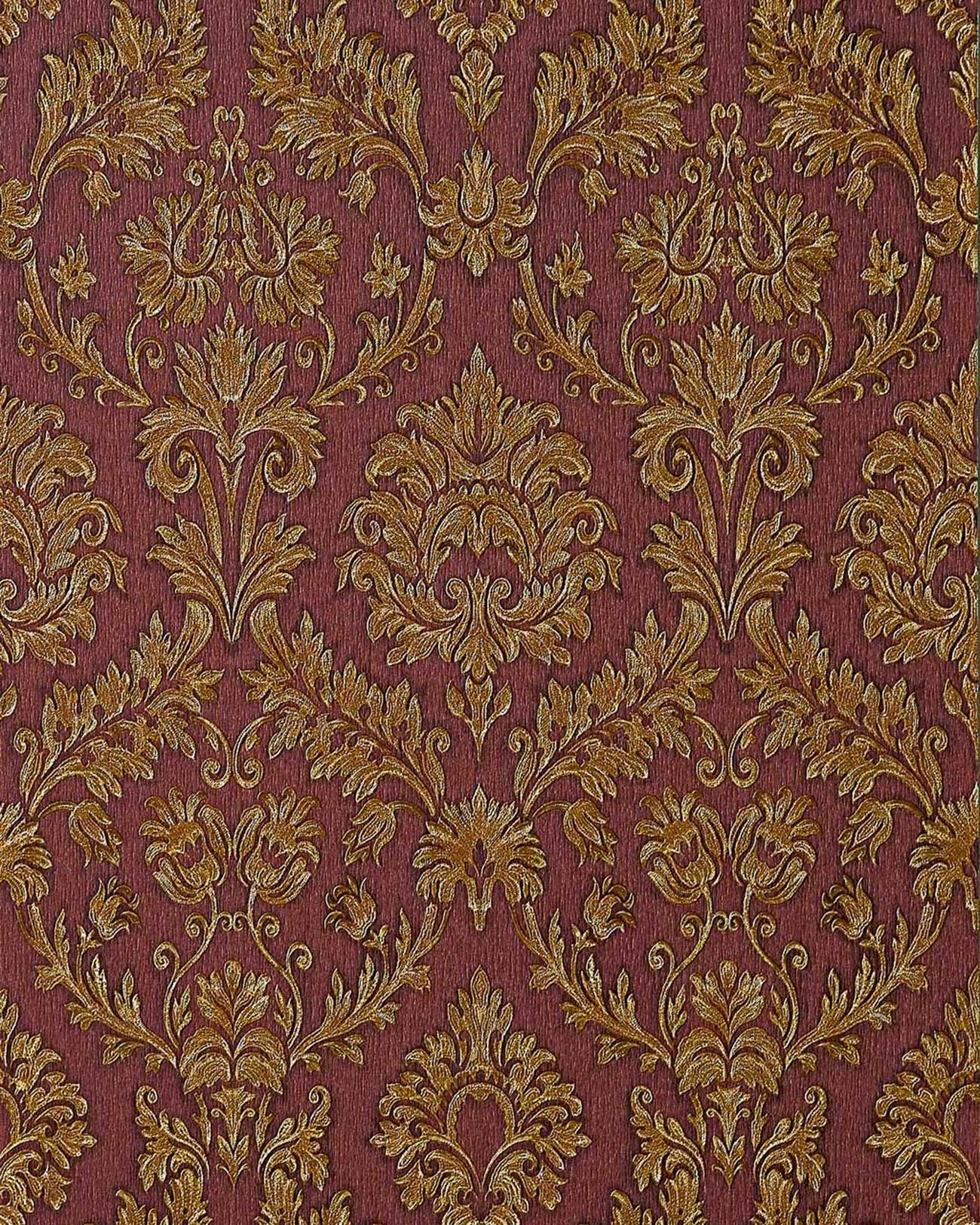 Orientalische Ornamente Tapete : Red and Gold Damask Wallpaper