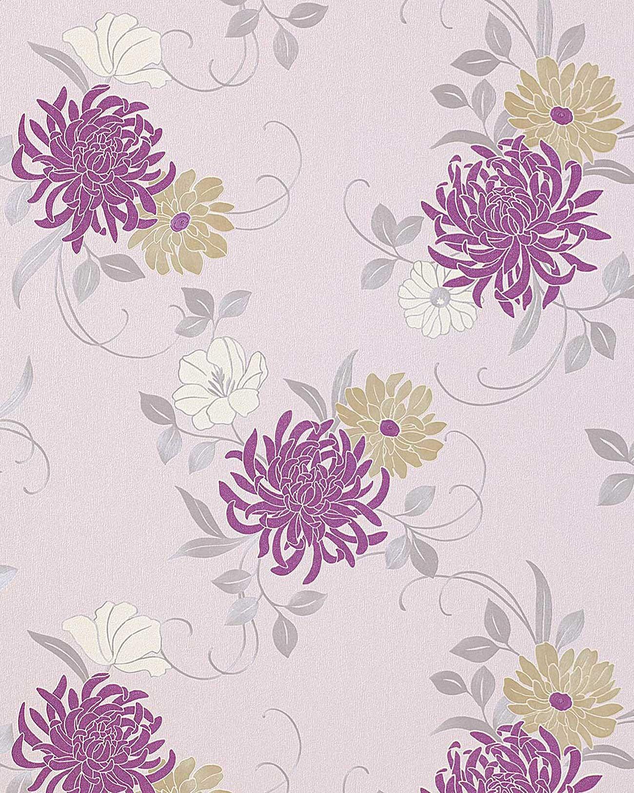 Lila Tapete Weiss Streichen : Blumen Tapete EDEM 824-25 hochwertige gepr?gte floral Blumentapete