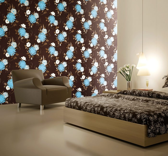 edem 824 28 gepr gte blumen tapete elfenbein schoko braun gr n bronze wei 70 cm original edem. Black Bedroom Furniture Sets. Home Design Ideas
