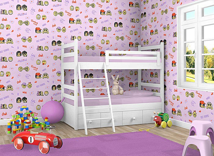 edem 037 24 fun manga anime chat smileys kinder jugend zimmer tapete rosa lila original edem. Black Bedroom Furniture Sets. Home Design Ideas