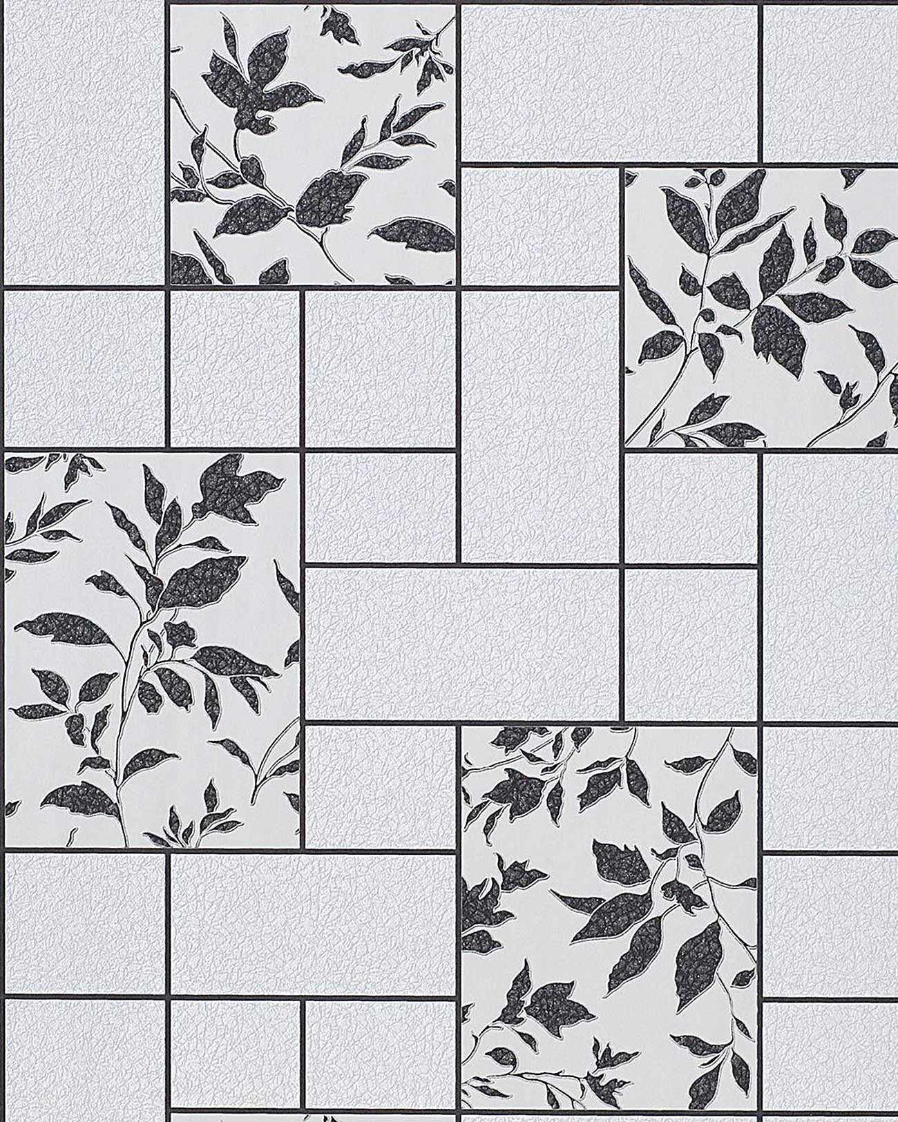 Abwaschbare Tapete Mit Tollem Muster : Silver and White Floral Kitchen Tile