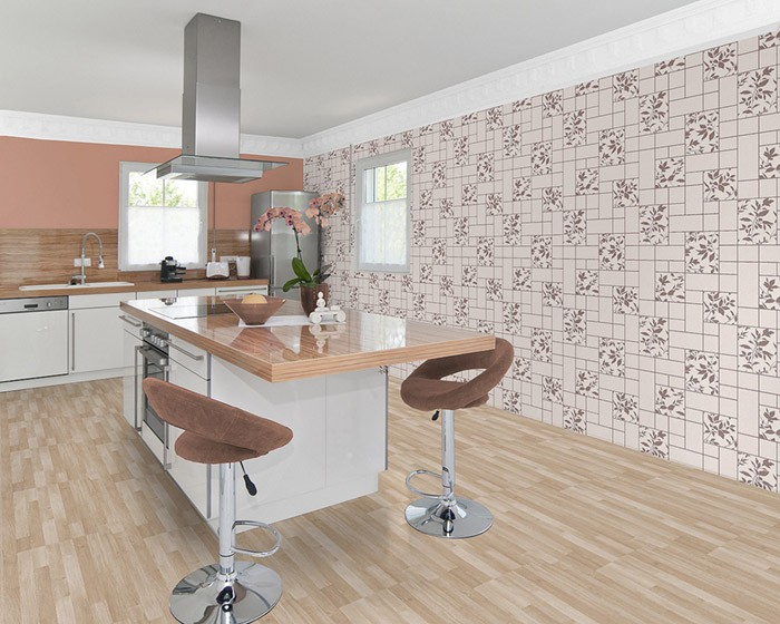 idee kche beige fliesen kitchen vinyl wall covering - Moderne Fliesen Bad Und Kche