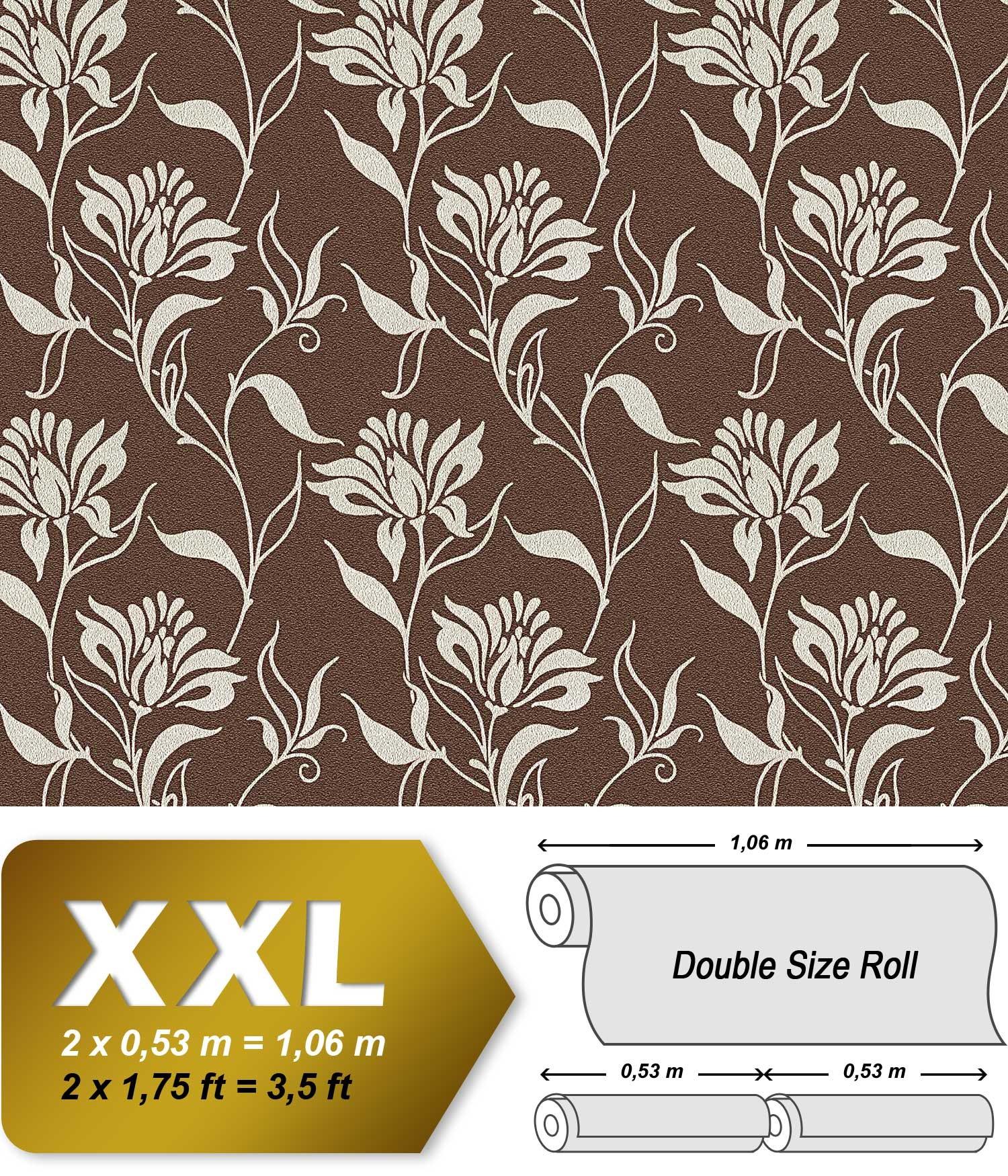 Asiatische Blumen Tapete : Tapete florales Blumen Muster schoko-braun silber-grau 10,65 qm