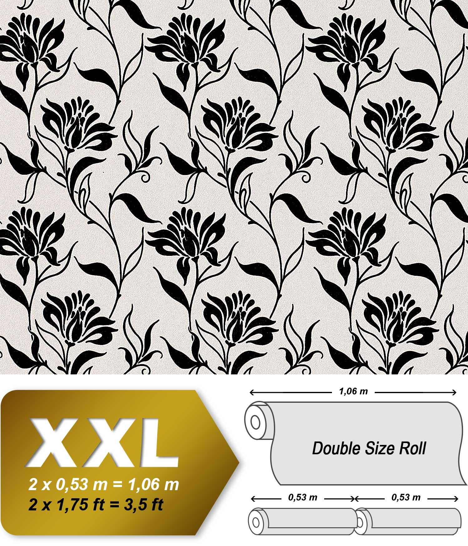 edem 939 30 designer vliestapete florales blumen muster schwarz wei 10 65 qm original edem. Black Bedroom Furniture Sets. Home Design Ideas