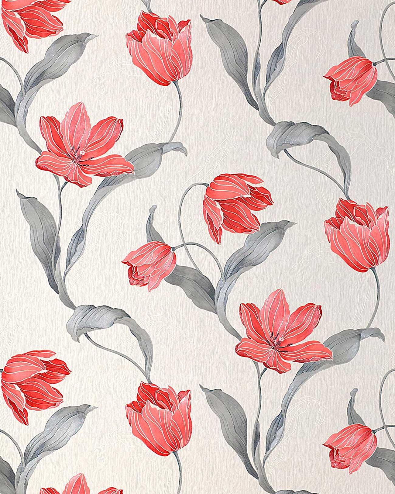 Edem 828 20 deluxe tulpen blumen tapete original edem for Tapete rot silber
