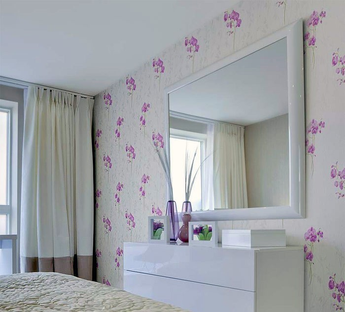Abwaschbare Tapete K?che : Lilac and Light Blue Floral Pattern