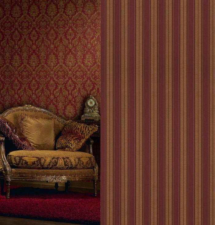 Edem 709 36 hochwertige streifen barock pr ge tapete wein for Tapete weinrot