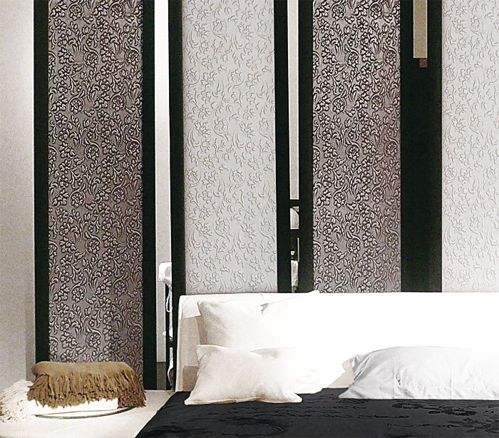 floral blumen wandpaneel wallface 13412 floral silber. Black Bedroom Furniture Sets. Home Design Ideas