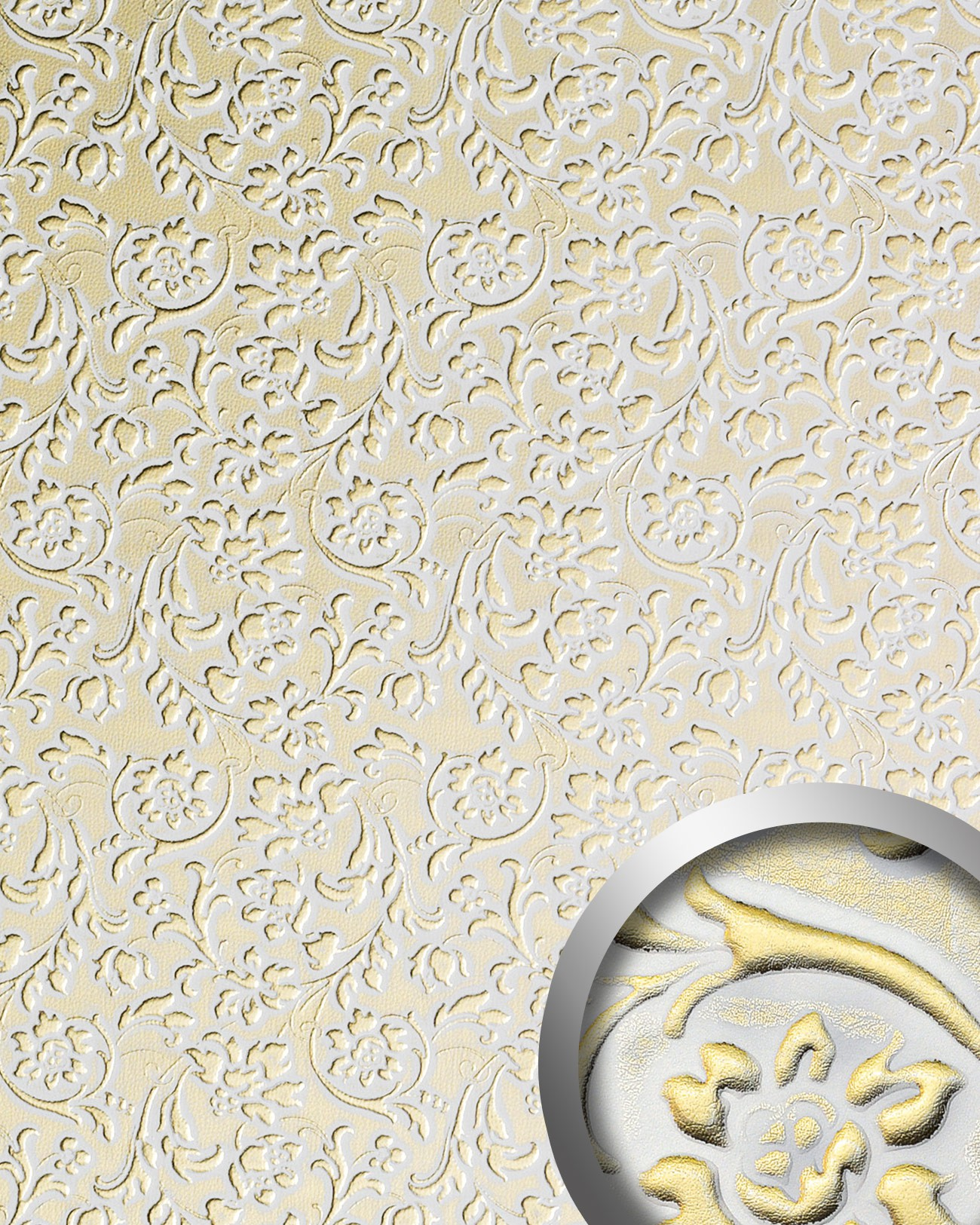 Selbstklebende Tapete Gold : Wandpaneel WallFace 13415 FLORAL gold Original WallFace, Wei?, Gold
