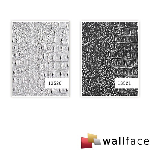 Selbstklebende Design Tapete : Wandpaneel Leder Optik WallFace 13520 CROCO silber Original WallFace
