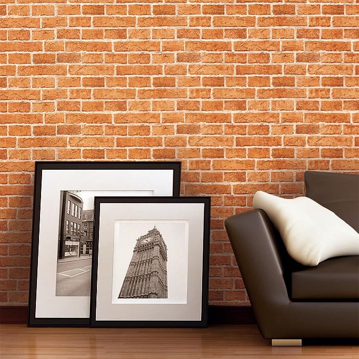 Retro Tapete Orange Braun : Shabby Rustic Look Brick Wallpaper