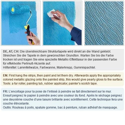 Tapeten Mit Muster ?berstreichen : mit Struktur grobe Leinenstoff Optik maler wei? 25 Meter 26,50 qm