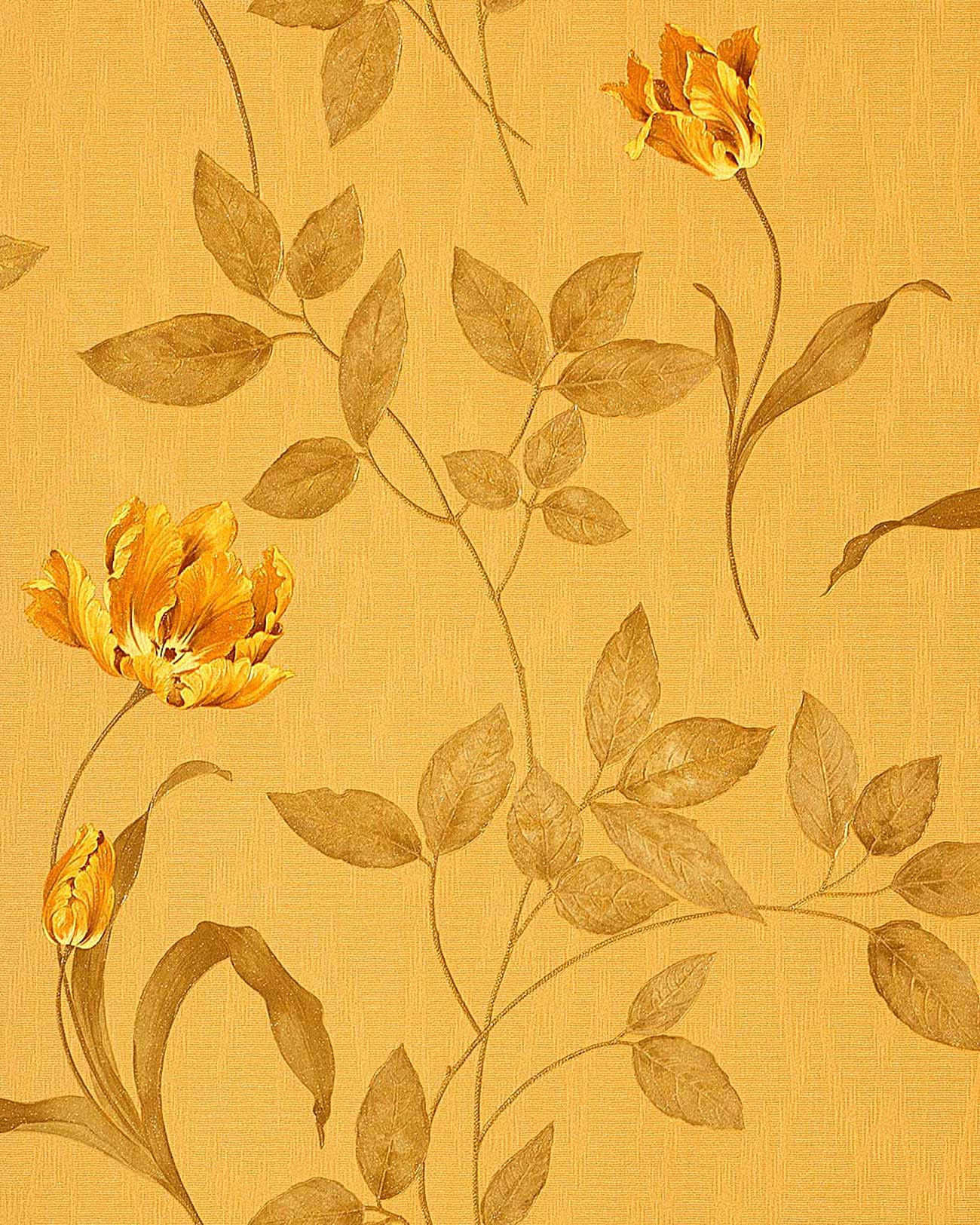 Hochwertige Textil Tapeten : Yellow Floral Wall Covering