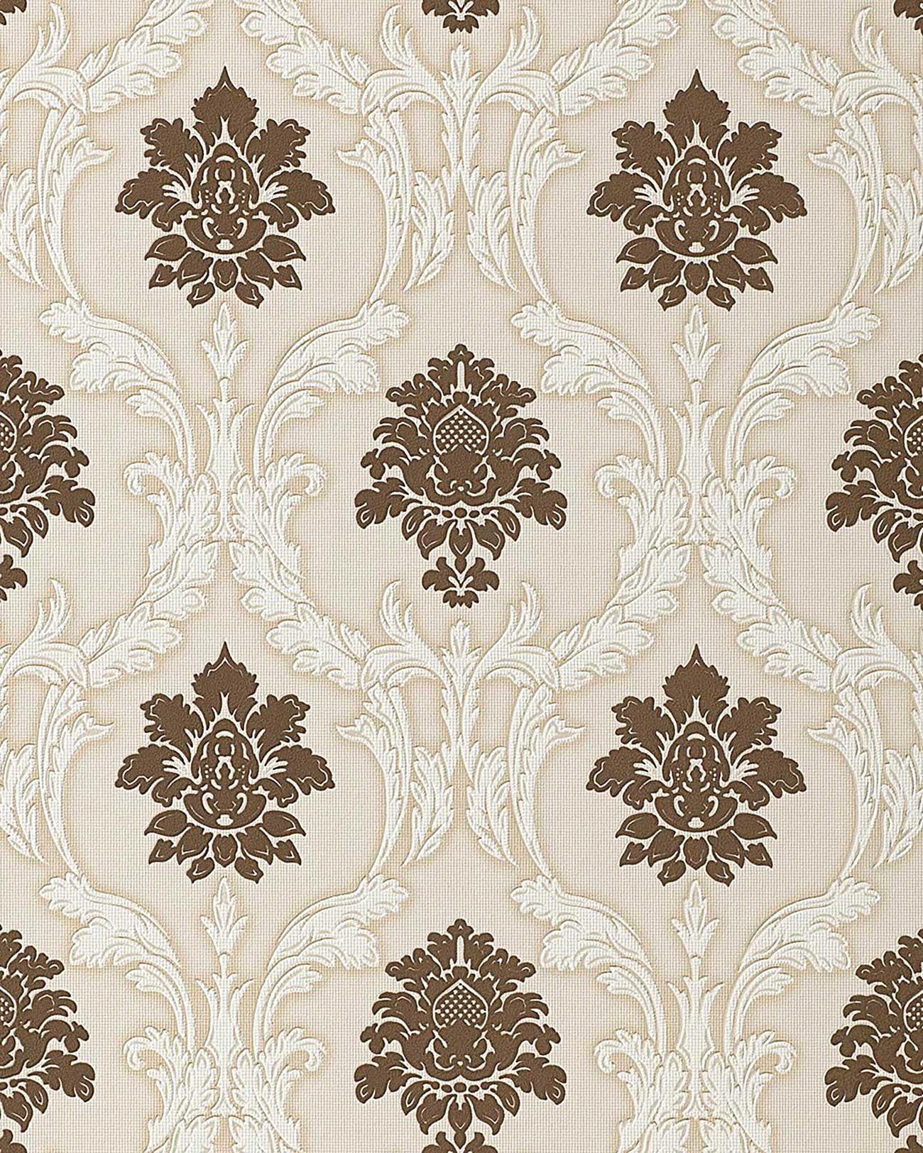 Muster Tapeten Braun Beige : Chocolate and White Damask Wallpaper
