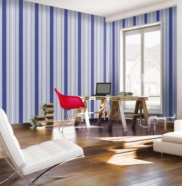 Marburg Tapeten Opulence : Silver Blue and White Stripe Pattern